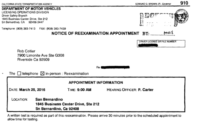 Notice of Re-Examination Appointment - California