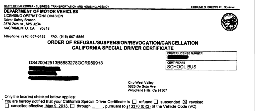Refusal/Suspension/Revocation/Cancellation Special Driver
