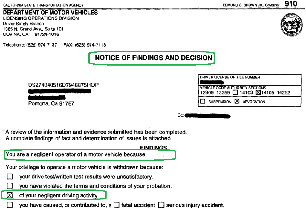 Notification of Findings and Decision for Road Rage