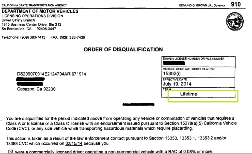 California DMV Order of Disqualification (Lifetime) - What