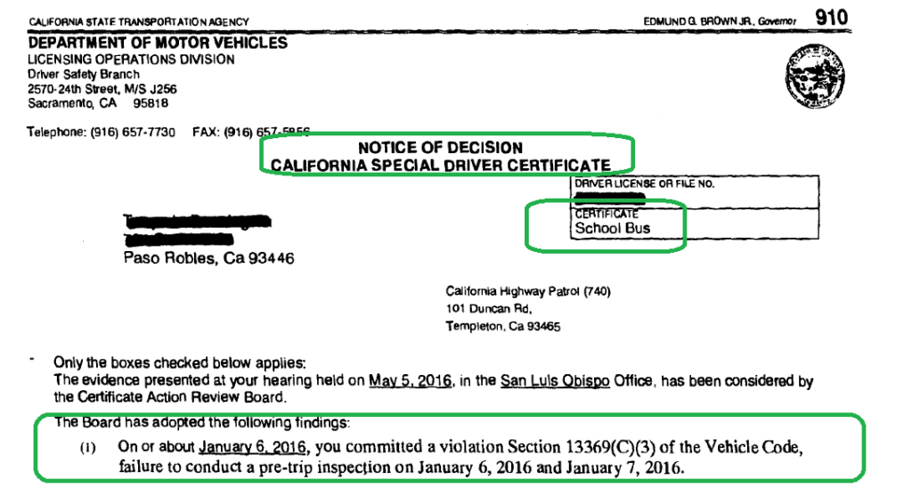 Notice of Decision on a Special Driver Certificate