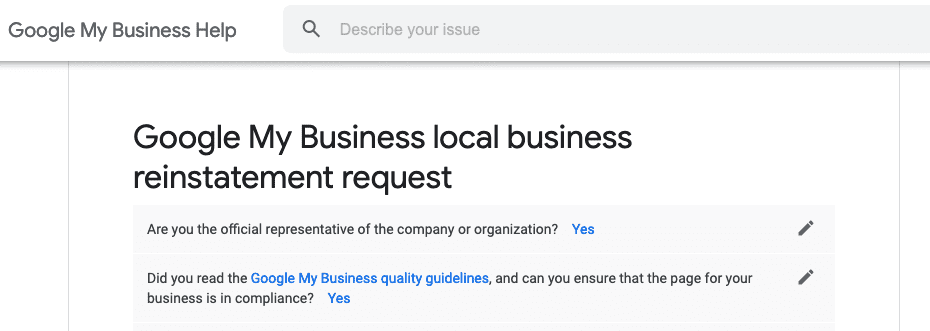 Google local glitch