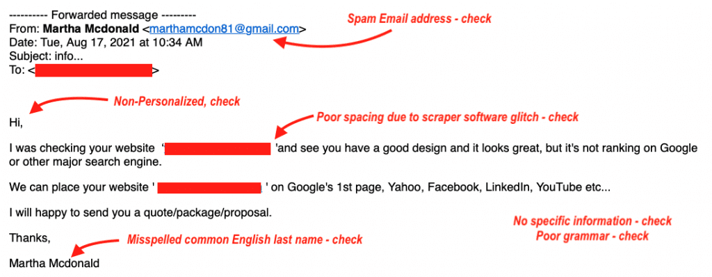 SEO doomsday email spam example